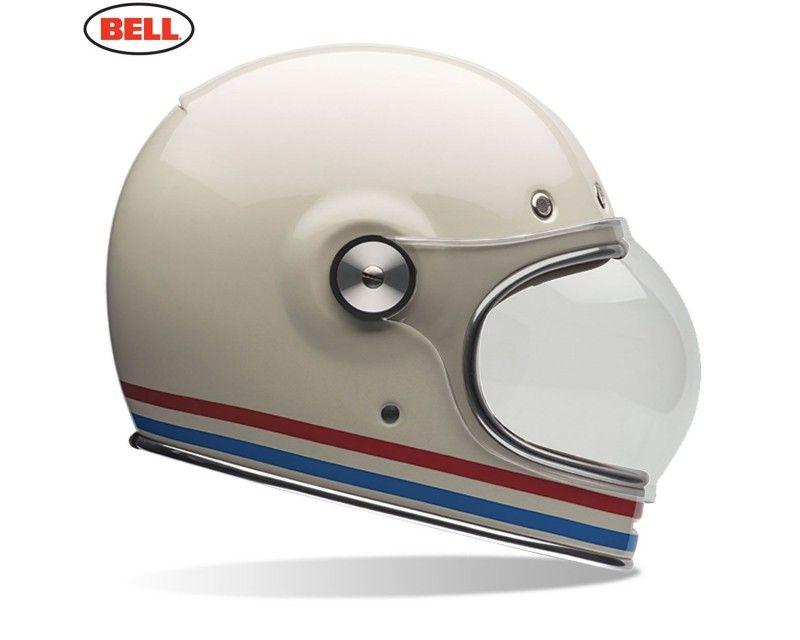 Bell Bullitt Full Face Classic Motorcycle Helmet Stripes Vintage White Retro Motorcycle Helmets Motorcycle Riding Gear Bell Helmet