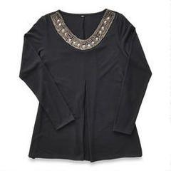 Haut tunique à encolure bijoutée pour dames  de tailles fortes N.W.D.