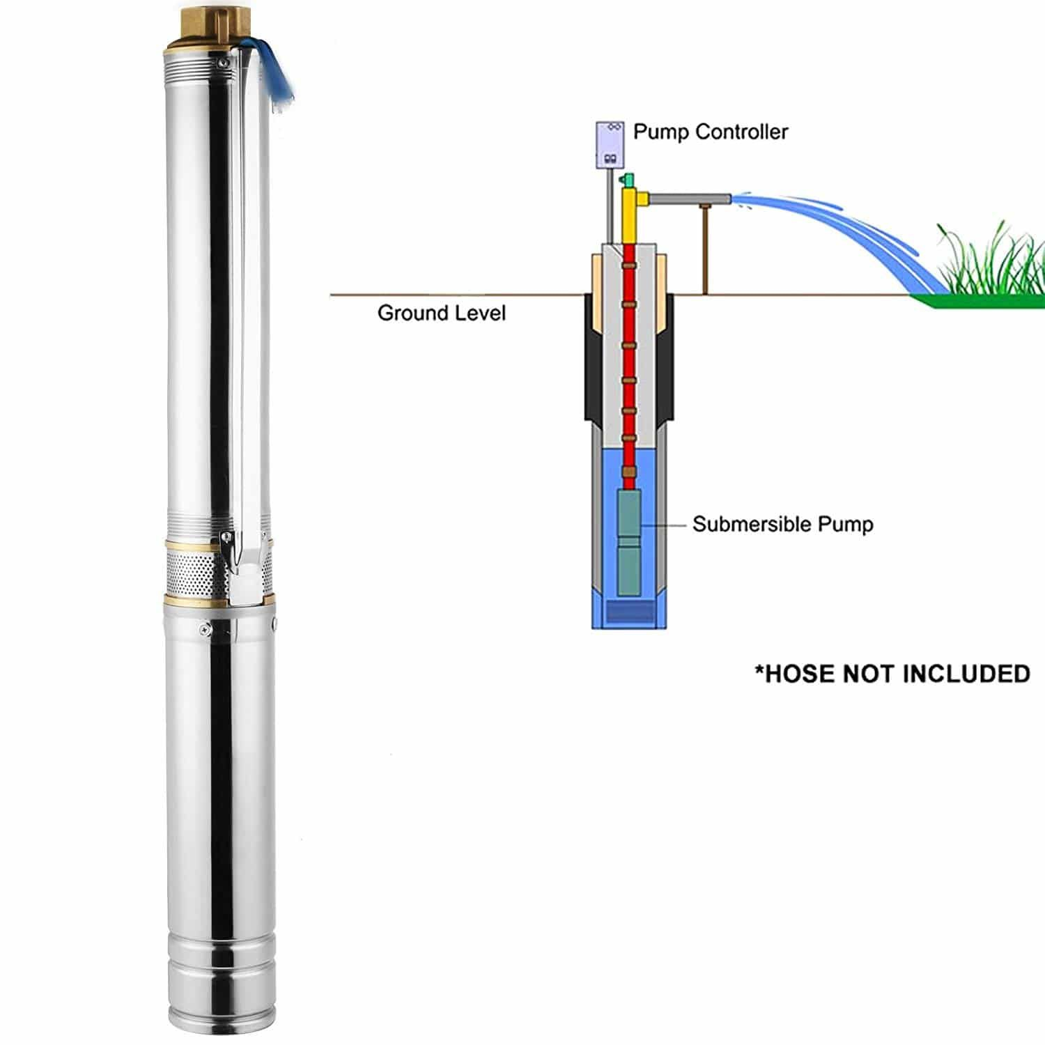 Orangea Deep Well Submersible Pump 1 2 Hp 150ft Deep Well Pump 25gpm Stainless Steel Deep Well Pump Submersible Well Pump Well Pump Submersible Pump
