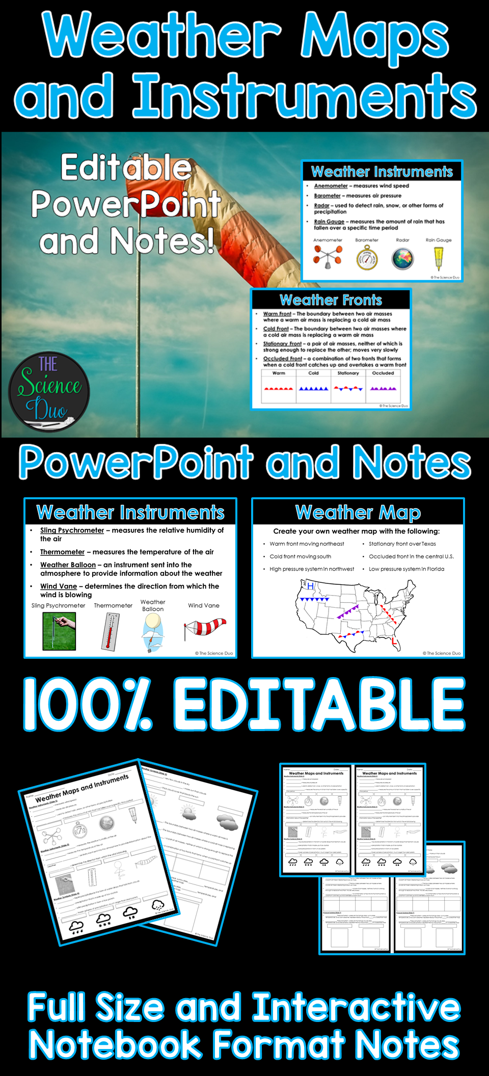 weather maps and instruments powerpoint and notes teaching