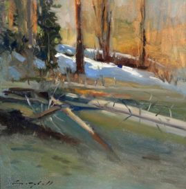 """Peter Campbell, """"Alpine Lake,"""" oil on panel, 12 x 12 inches"""