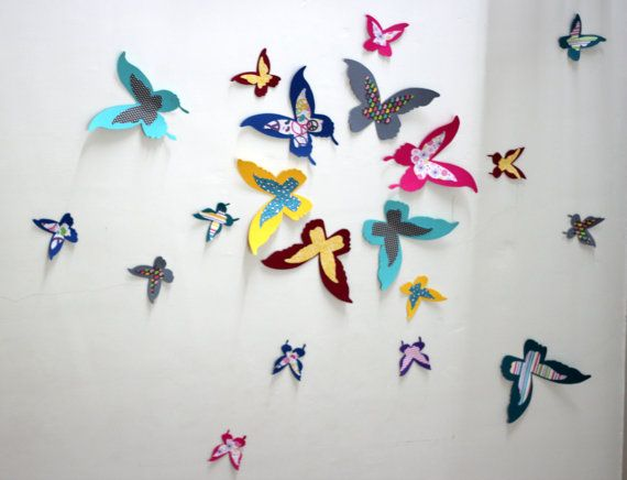 Paper Butterflies  Multicolored  Wall decor  3d by MyDreamDecors