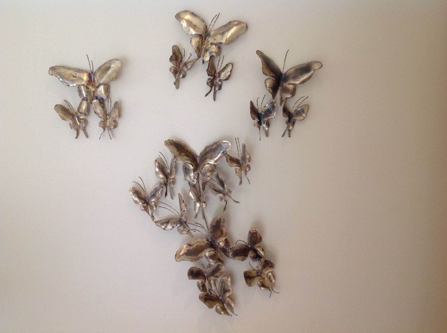 Vintage jere style butterfly metal art wall sculpture signed by