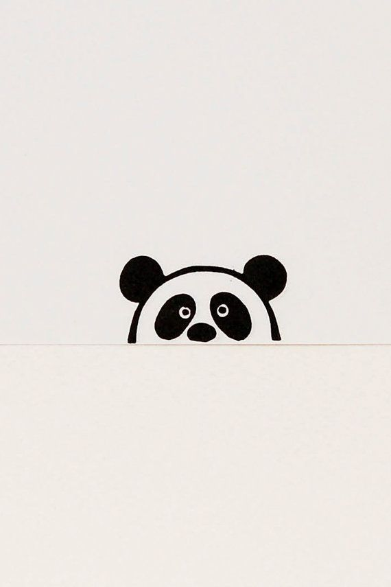 A small rubber stamp of a primitive simple peek-a-boo panda bear who looks at yo…  #looks #…