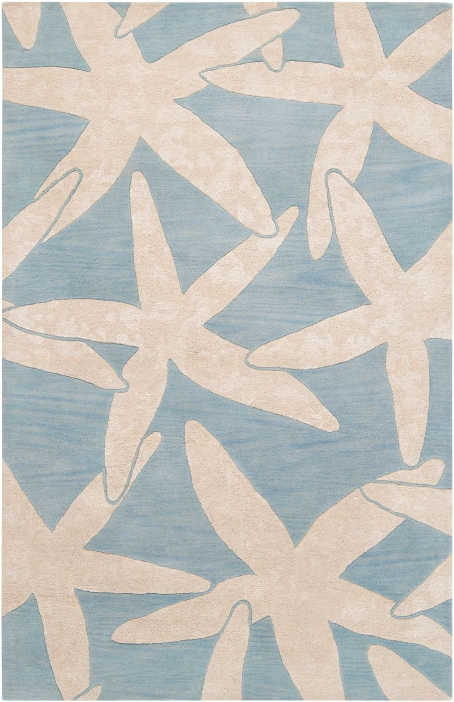 Escape Starfish Area Rug Ivory On Dusk Blue Beach Decor Coastal Nautical Tropical Luxury Cottage