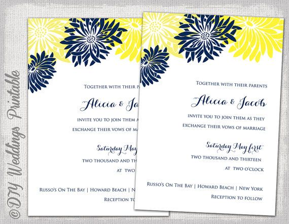 Wedding Invitation Template Yellow Navy By