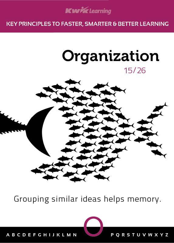 Grouping similar ideas helps memory!  Learn more: http://kwiklearning.com/atoz/organization2.php  #learn #learning #organization #brain #memory