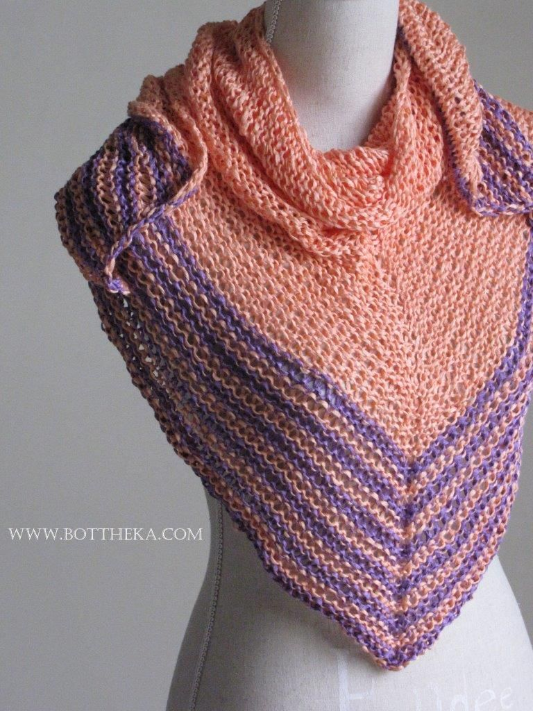 Salmon & Sepia shawl – Copyright Botthéka©2016 - free knitting ...