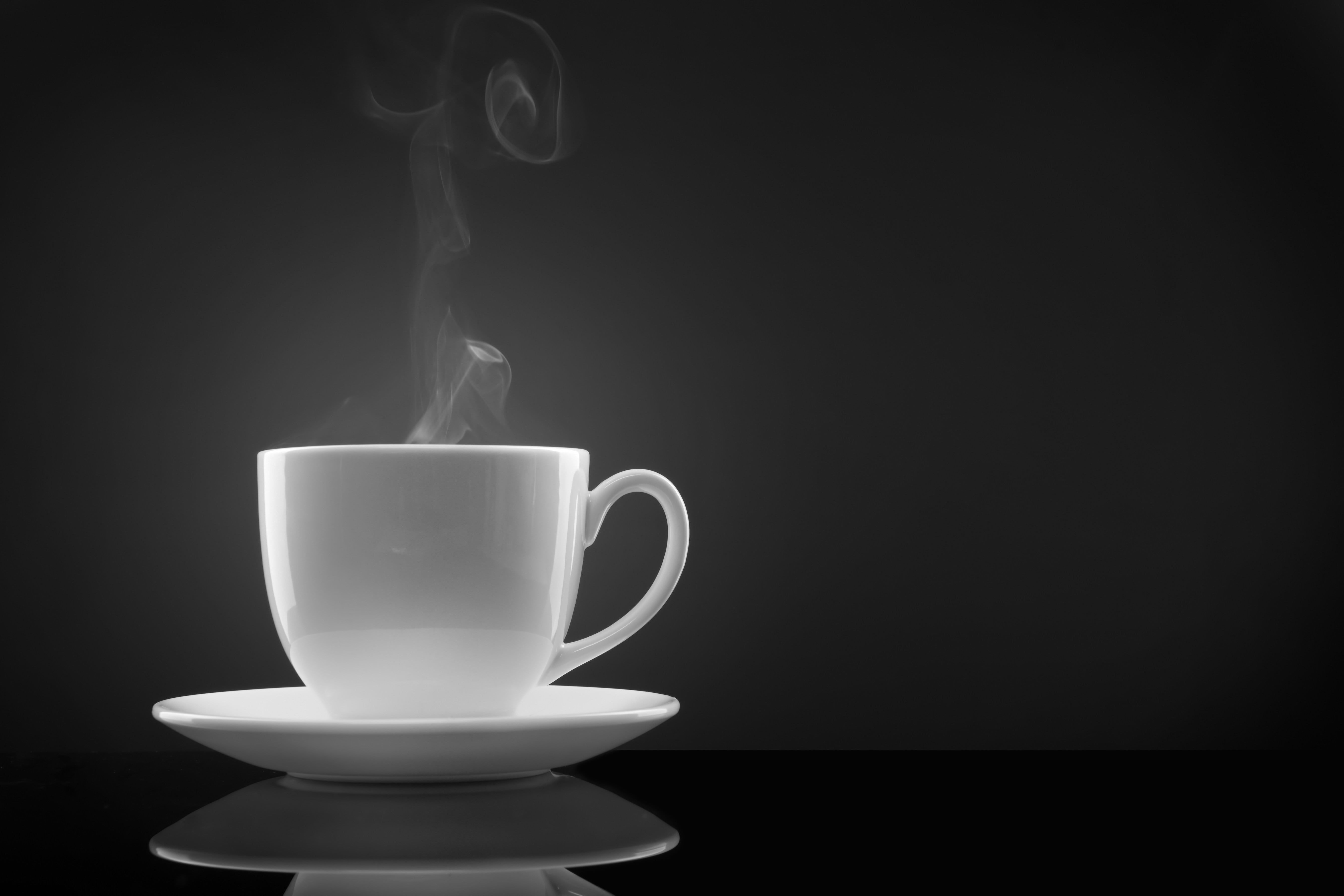 Teacup With Saucer Wallpaper Coffee Steam Black Background In 2021 Coffee Steam White Tea Cups Coffee Cups