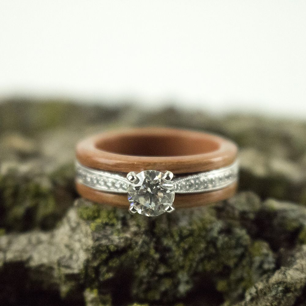 Cherry Wood And Diamonds Simply Wood Rings Capped Engagement