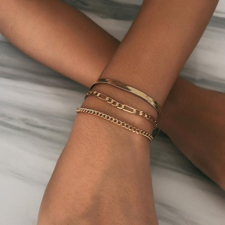 Trendy Layered Gold Silver Tone Curb Link Chain Br