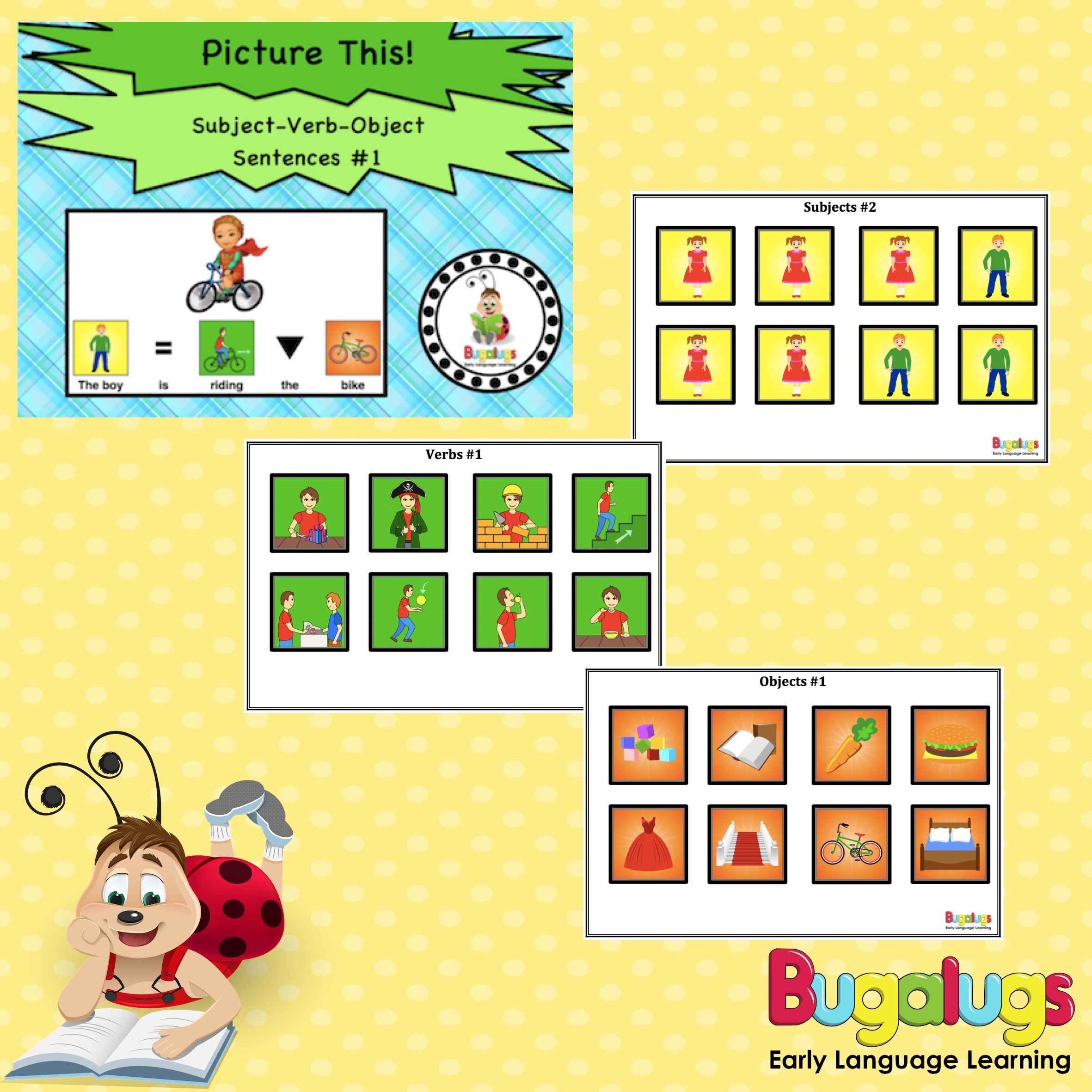 Subject Verb Object Visual Sentence Package 1 Use This Package To Teach Ch Subject And Verb Speech Language Pathology Activities Speech Therapy Materials [ 2362 x 2362 Pixel ]