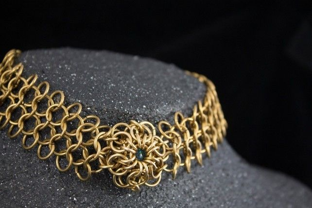 Brass Maelstrom Collar 1 - Chainmaille Choker Necklace £36.00
