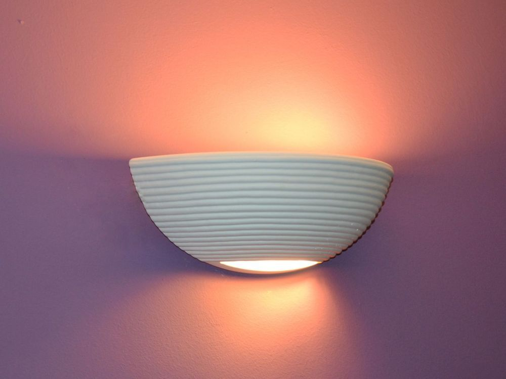 """NEU Wandlampe Keramik Wandleuchte Lampe Leuchte Gips /""""Elsa/"""" 1950"""