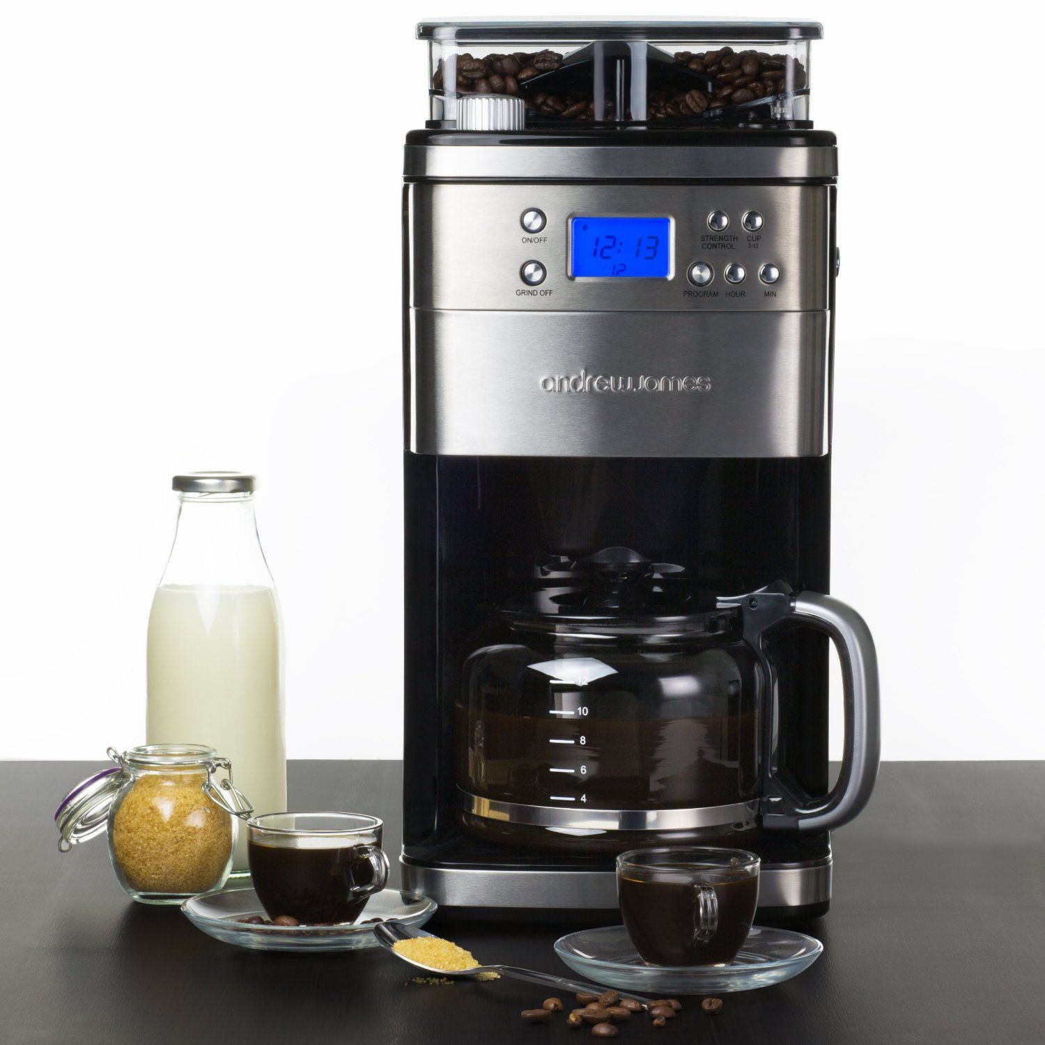 Andrew James Premium Programmable Chrome Filter Coffee Maker With Integrated Bean Grinder Includes Reusable Filter Coffee Machine Filter Coffee Machine Coffee