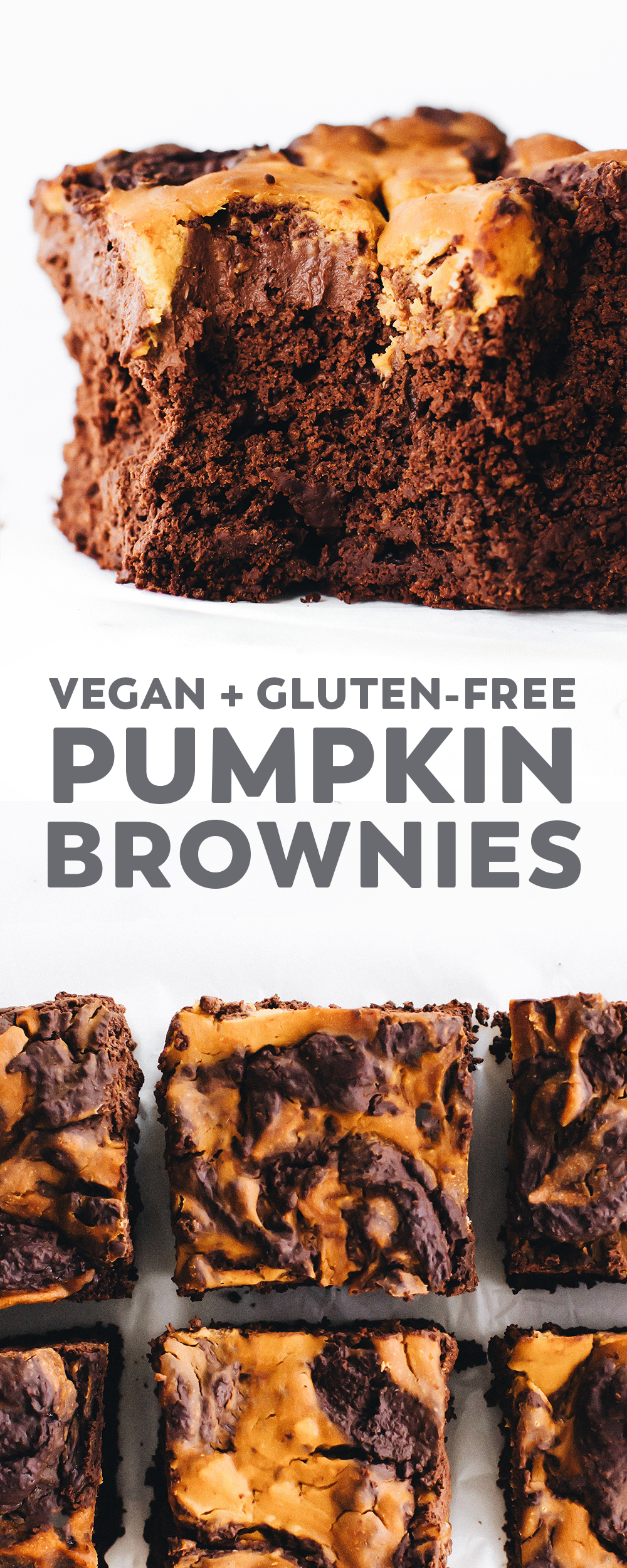 Vegan Pumpkin Swirl Brownies (gluten-free and oil-free) #falldesserts