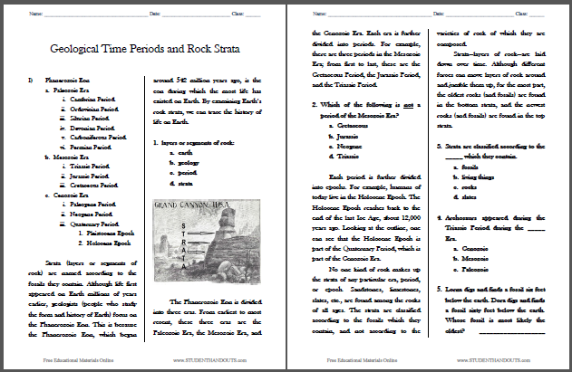 Geological Time Periods And Rock Strata Reading Worksheet This