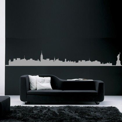 New York Skyline Sofa Pillows Home Black White