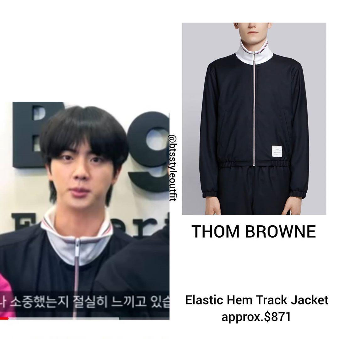 "@btsstyleoutfit on Instagram: ""#KimSeokjin wearing #thombrowne Elastic Hem Track Jacket $871 Rp. 14.532.635,00 . . . #Seokjincloset #BTSfashion #fashionstyle #uptodate…"""