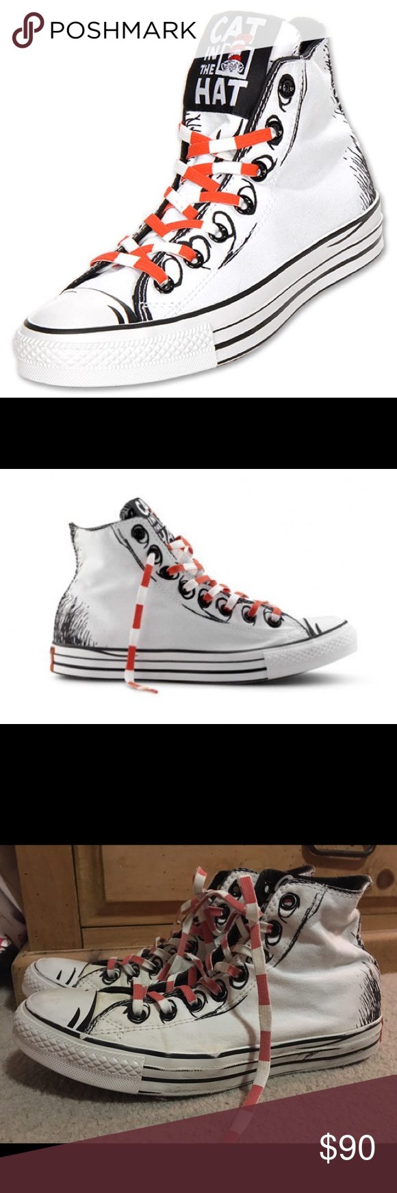 a9d94bde84b8 RARE CONVERSE CAT IN THE HAT CHUCK TAYLOR SHOES RARE CONVERSE CAT IN THE  HAT DR. SEUSS CHUCK TAYLOR SHOES MEN SZ 8 WOMEN SZ 10 Converse Shoes  Sneakers