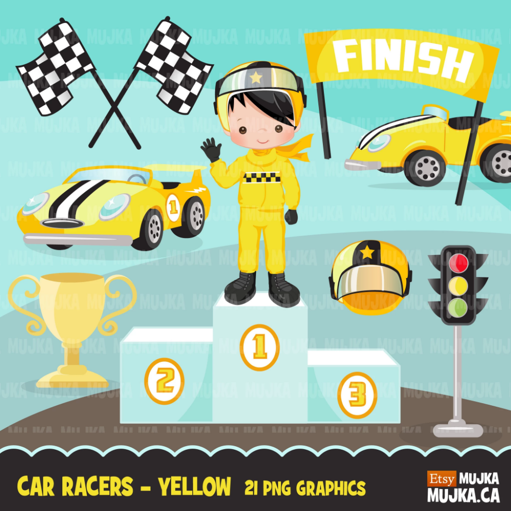 Car Racing Clipart, Yellow Car Racer Boy, Formula 1