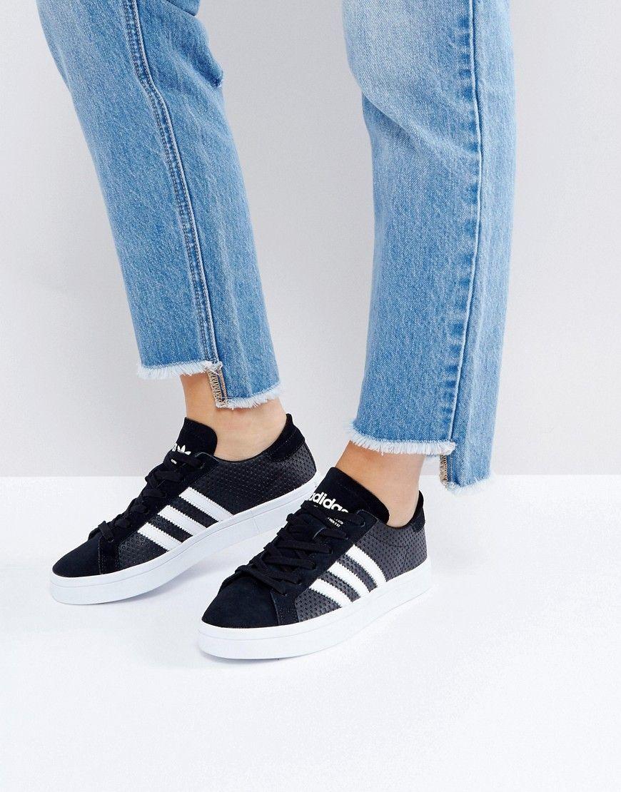 buy online 813f0 61b50 ADIDAS ORIGINALS ADIDAS ORIGINALS BLACK AND WHITE COURT VANTAGE SNEAKERS -  BLACK.  adidasoriginals  shoes