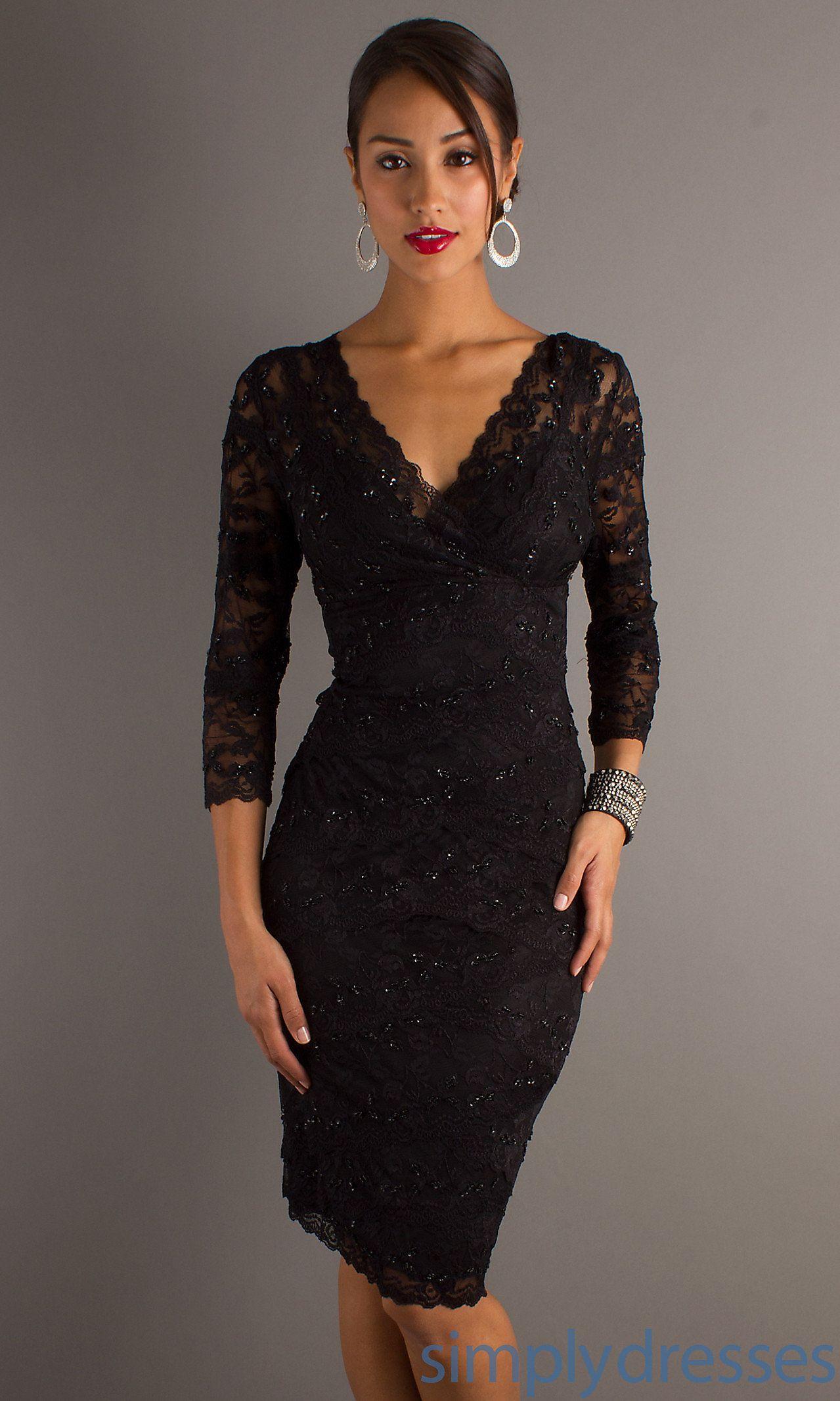 Three Quarter Sleeve V Neck Knee Length Lace Dress Cocktail Dress Lace Little Black Cocktail Dress Black Lace Cocktail Dress [ 2132 x 1279 Pixel ]