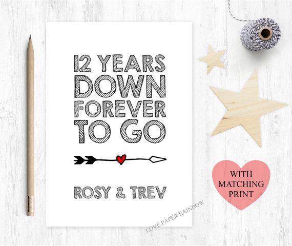 12th Wedding Anniversary Card 12 Years