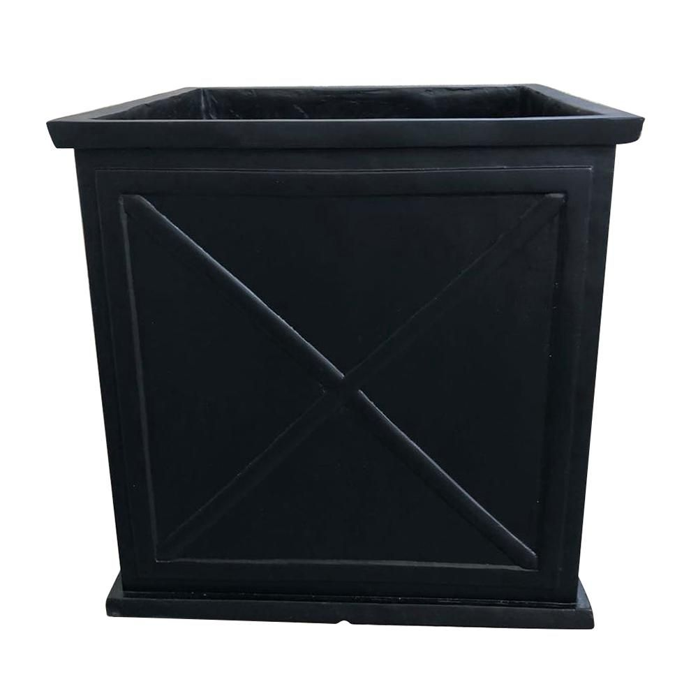 Parkway Cube 15 in. Dia Black Resin Planter-CMX-057673 - The ... on window planters home depot, plant pots home depot, patio planters home depot, trellis planters home depot, post planters home depot, vertical garden home depot, brick planters home depot,