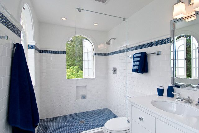 Kids Bathroom Taking The Penny Tile Band High All The Way Around Blue Bathroom Decor White Bathroom Decor Blue White Bathrooms