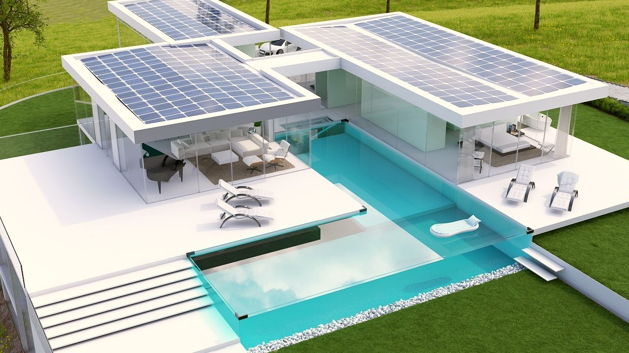 Net zero house completely solar powered home self for Self sustaining pool