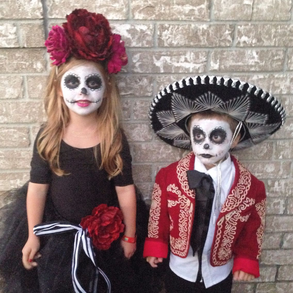 Sibling costumes. Day of the Dead - Dia de Los Muertos - sugar skull. Kids homemade Halloween ...