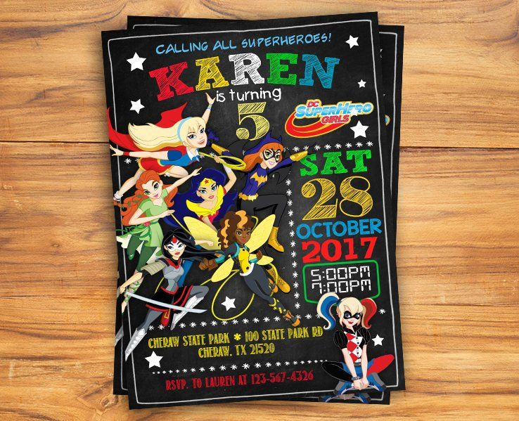 DC SUPER HERO GIRLS INVITATIONS ~ Birthday Party Supplies Stationery Cards 8