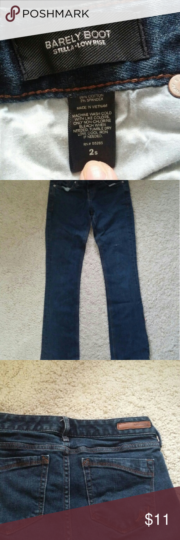 Express jeans A pair of barely boots jeans by Express. It has some nice details. There is a mark on the front left leg as shown in the last picture. Inseam is 28 and a half inches. Waist is 12 and a half inches. Express Pants Straight Leg