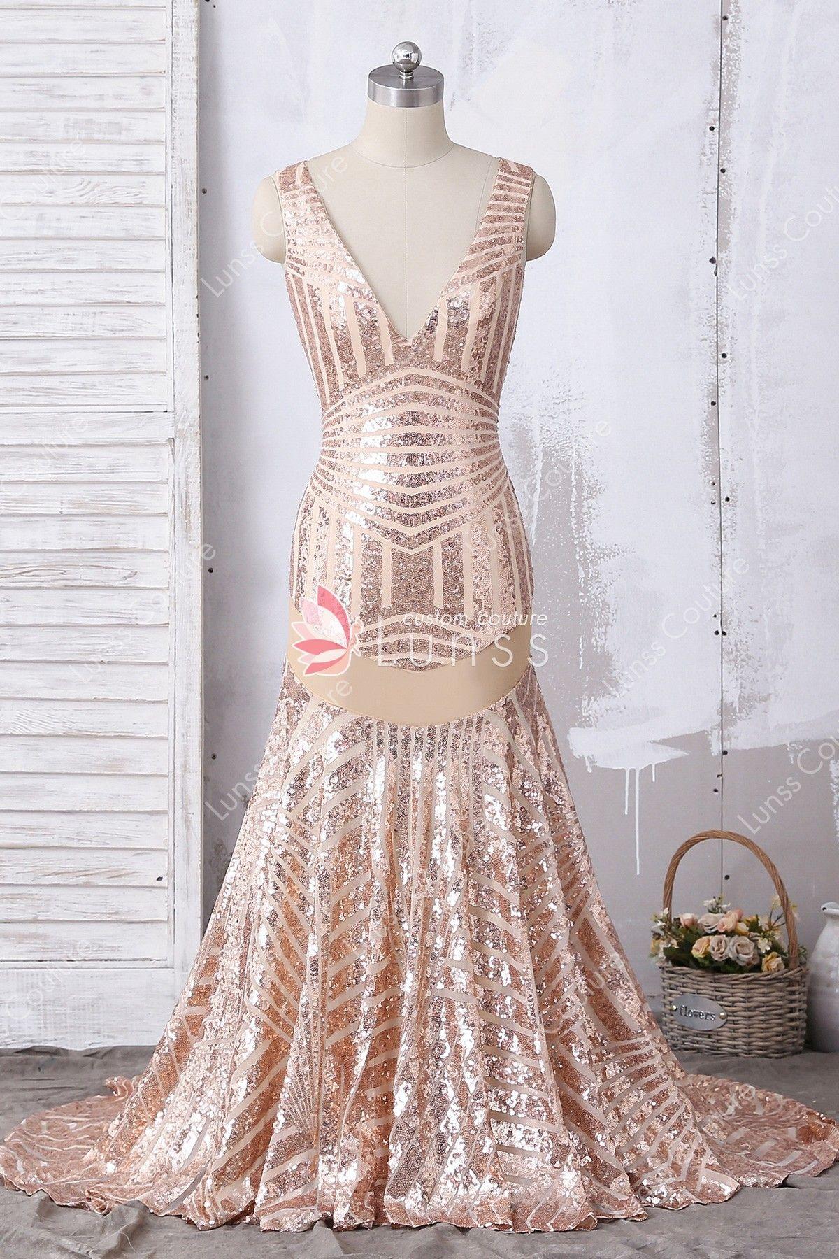 Sexy deep vneck rose gold bombshell pattern sequin sleeveless