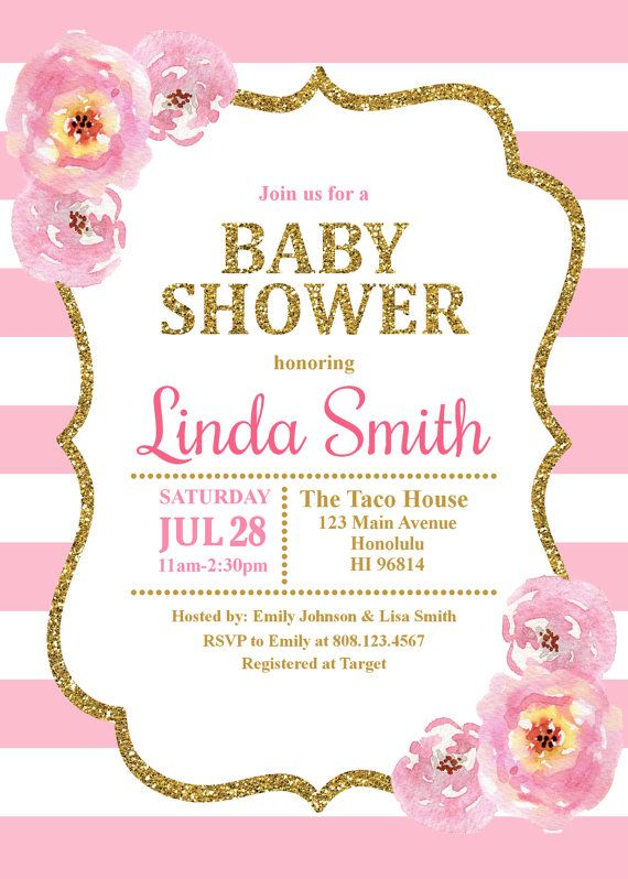 Pink and Gold Baby Shower Invitation, Baby Girl Shower Invitation ...