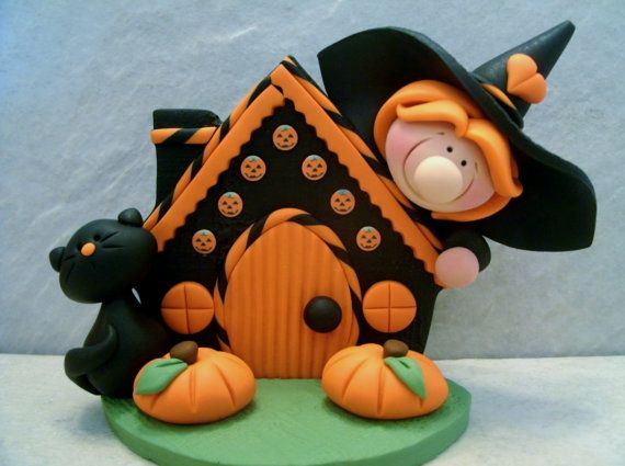 Witch Black Cat Pumpkins Halloween by countrycupboardclay