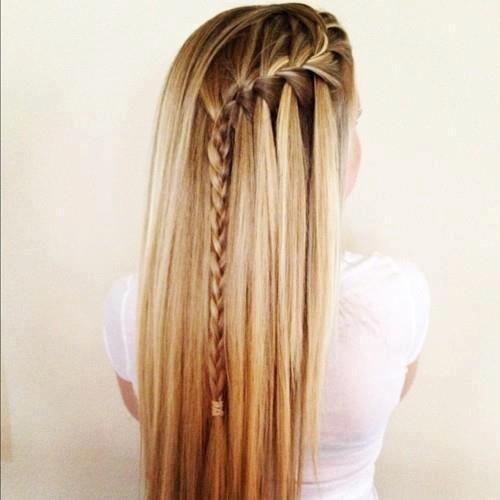 Waterfall Braid With Straight Hair Hair Styles Long Hair Styles Braided Hairstyles