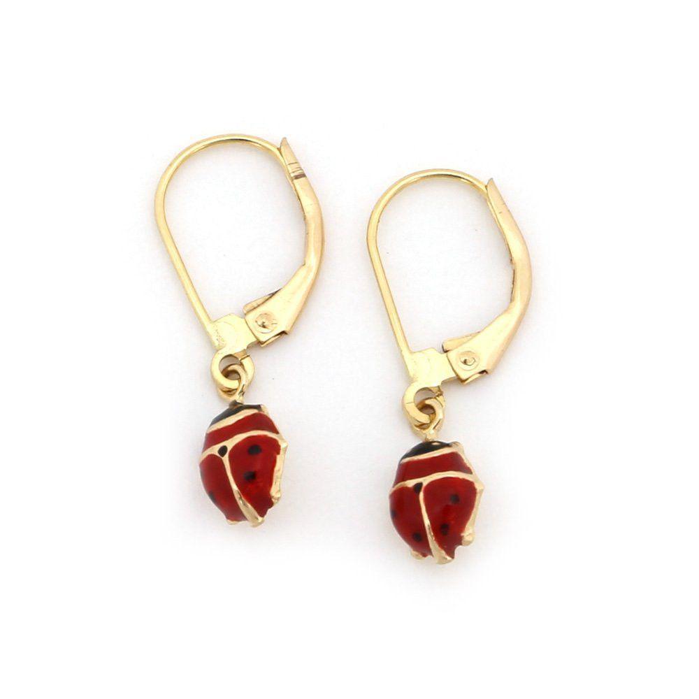 14k Yellow Gold 6mm Enamel Ladybug Dangle Earrings