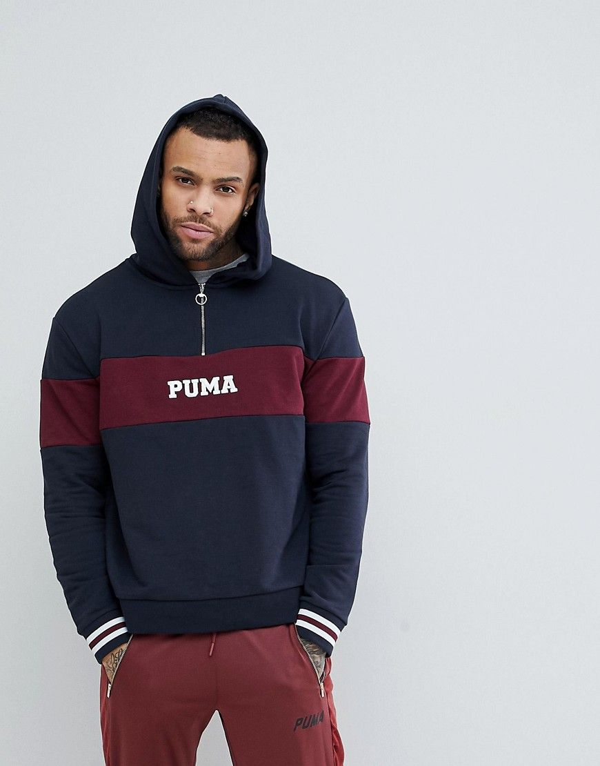 1253571ab9e750 PUMA RETRO HALF ZIP HOODIE - NAVY.  puma  cloth