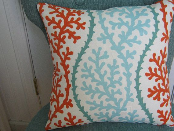 accent pillow cover decor beach coral home outdoor throw coastal weather porch teal seaside fit nautical snug decorative pin and patio
