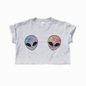 ce469d6f9badd8 Boobs · Alternative Girls · Tumblr Outfits · ALIEN-CUTE-CROP-TOP-Women-T- Shirt-Homies-