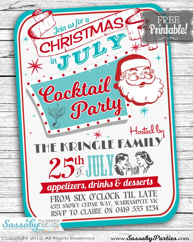 Christmas in July Free Printable Invitation Blog, Xmas and Holidays - free xmas invitations