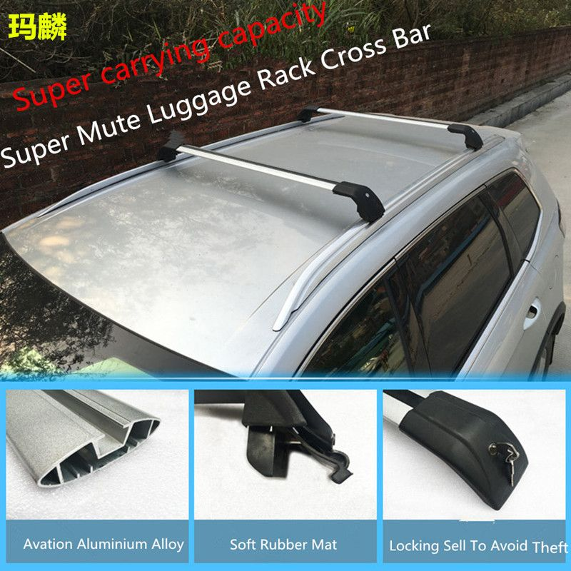 Universal Car Accessories Luggage Rack Corss Bar With Super Loading Capacity Car Styling For Most Full Pasted Standard Luggage Rack Soft Rubber Aluminium Alloy