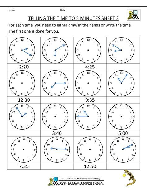 Telling Time Clock Worksheets To 5 Minutes Time Worksheets