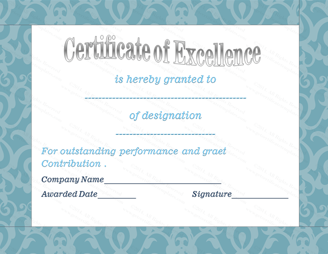 Blue Floral Award of Excellence Template | Award Certificate ...