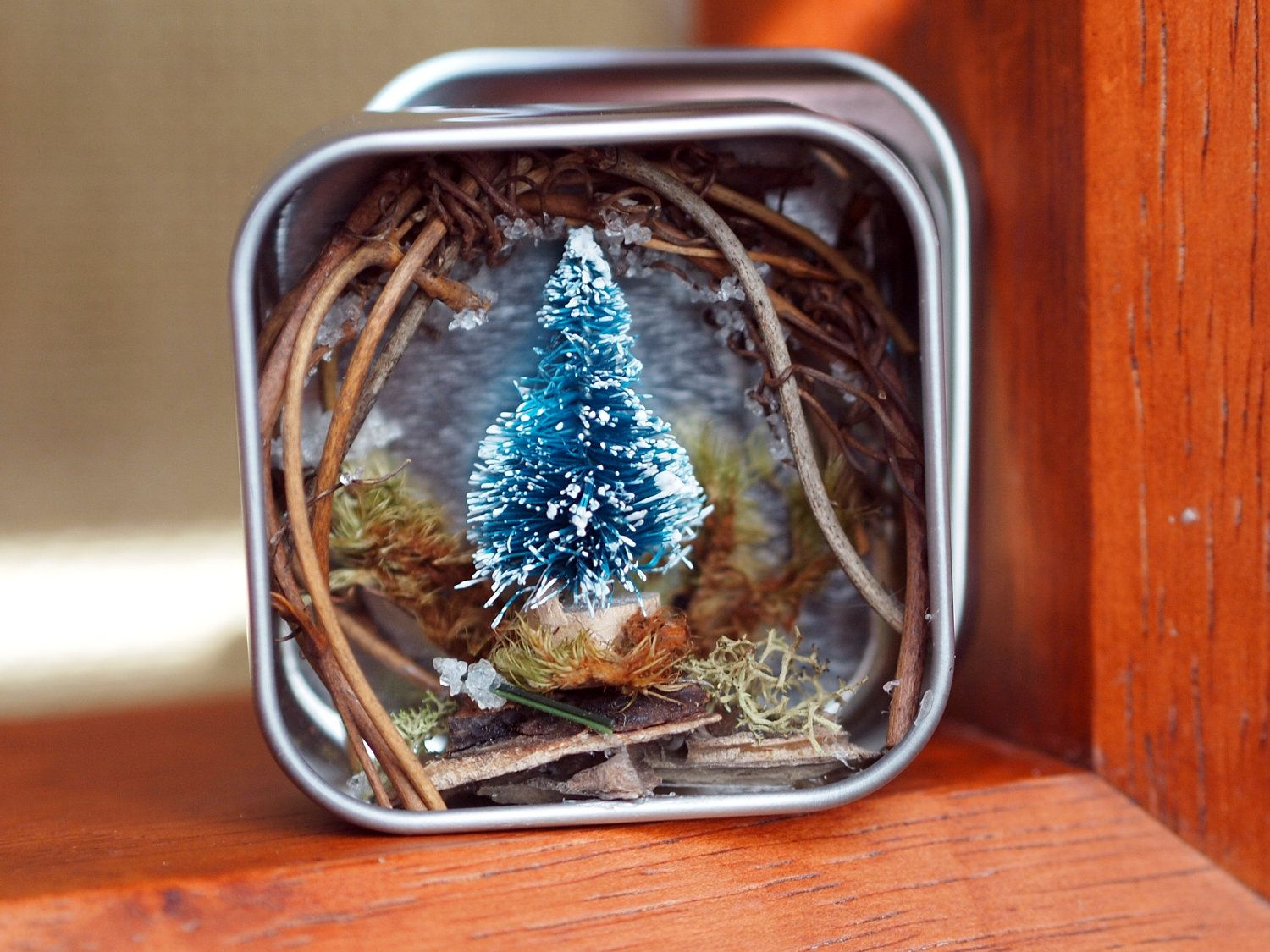 Mini snowy forest in a tin can / diorama. $20.00, via Etsy.