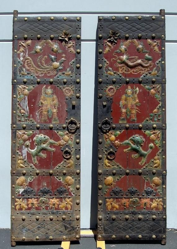 OLD CHINESE DOORS | Massive 8' Antique Chinese Decorated Wood Doors For  Sale | Antiques - OLD CHINESE DOORS Massive 8' Antique Chinese Decorated Wood Doors