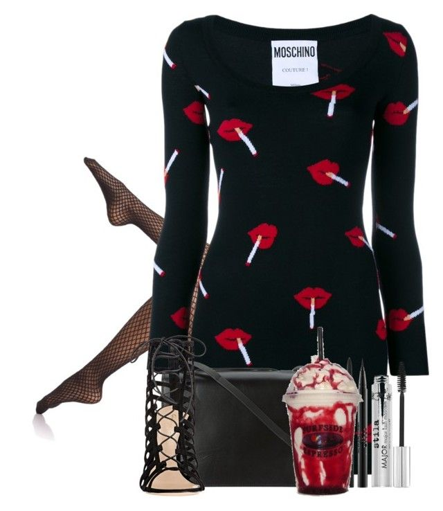 """Lips are movin'"" by sticthen on Polyvore featuring Wolford, Moschino, BCBGMAXAZRIA, Gianvito Rossi and Stila"
