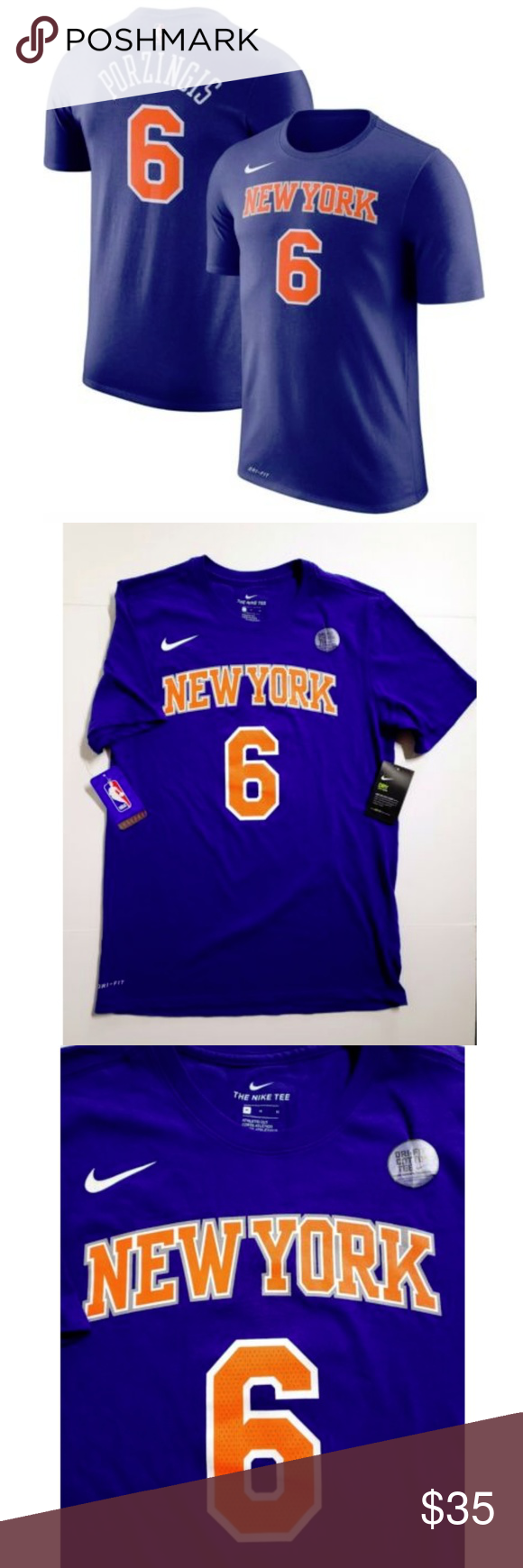 2ceba33f8 Nike New York Knicks KRISTAPS PORZINGIS T-Shirt New with Tags Nike Dri-fit